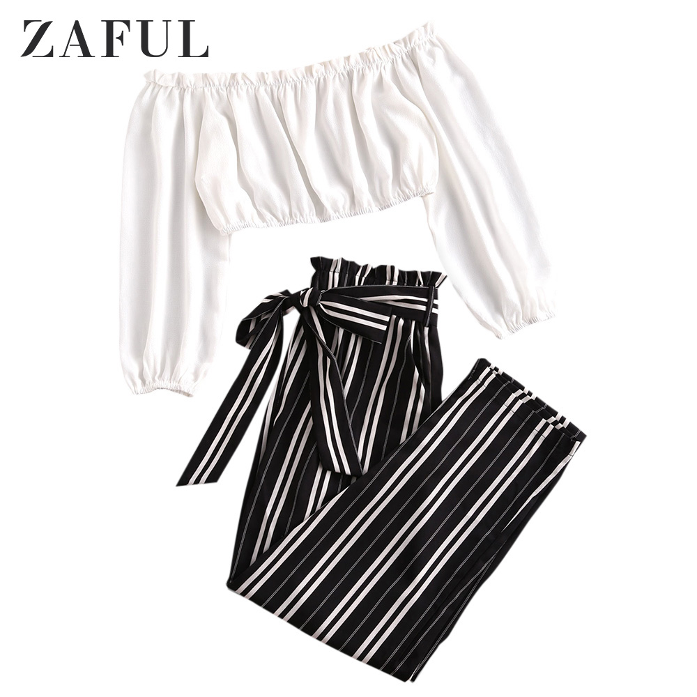 ZAFUL Office Ladies Contrast Off Shoulder Top And Stripes Paperbag Pants Set Long Sleeves High Waisted Pockets Two Piece Set