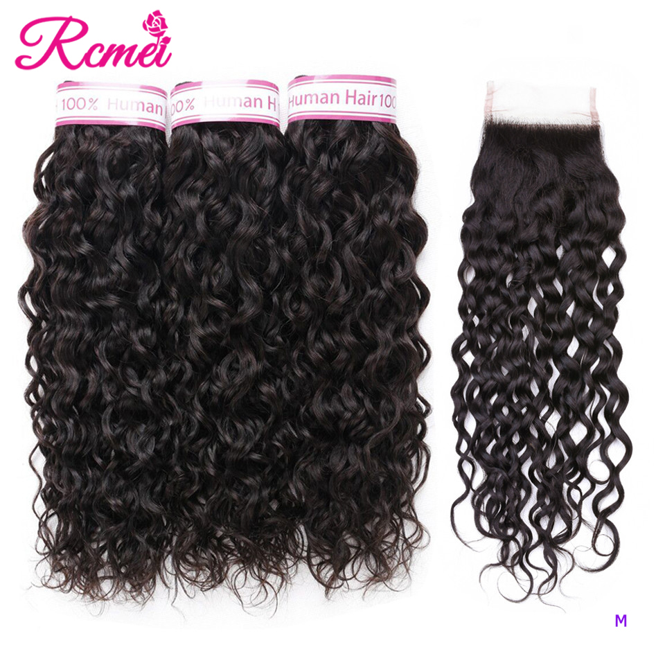 Water Wave 3 Bundles With Closure 4x4 Brazilian Hair Weave Bundle With Lace Closure Remy Human Hair Weave Extension
