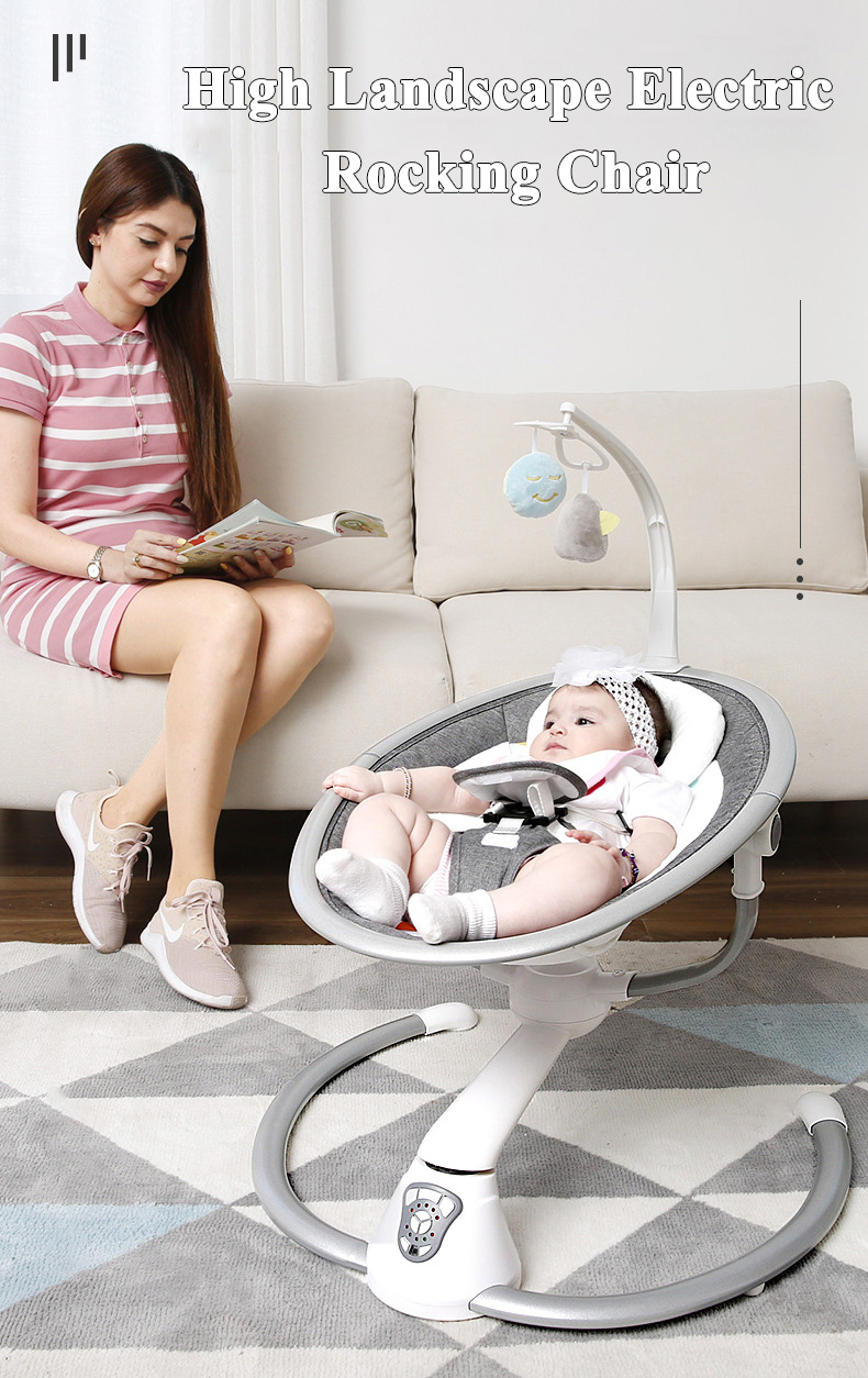 H8ca2bbd96dbc4c7eb866fdb8b8ee5107j Babyinner Electric Baby Rocking Chair Bassinet Newborn with Mosquito Kids Swing 360 Degrees Rotatable Cradle Baby Sleeping Bed