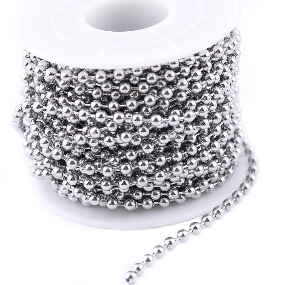 10meters/roll 1.5mm 2.0mm 2.4mm 3.0mm Stainless Steel Ball Beaded Jewelry Chain For Necklace Making Diy Accessories
