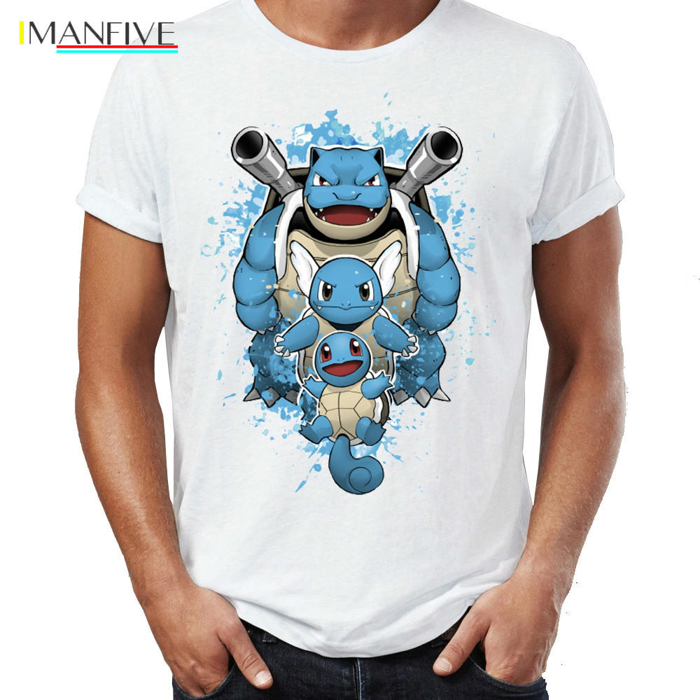 Men T shirts Water Type Pokemon Tops Tees Wartortle Blastoise Squirtle Tshirt Awesome Watercolor Artwork Pocket Monster T Shirts in T Shirts from Men 39 s Clothing