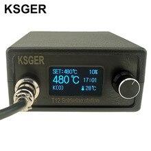 KSGER T12 Soldador estación STM32 OLED DIY Kits de Herramientas De Soldadura Puntas De Hierro de Soldadura Eléctrica Controlador de Temperatura Mango Caso