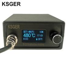 Ksger t12 estação de ferro de solda stm32 oled diy kits de solda ferramentas elétricas pontas do ferro de solda controlador temperatura lidar com caso