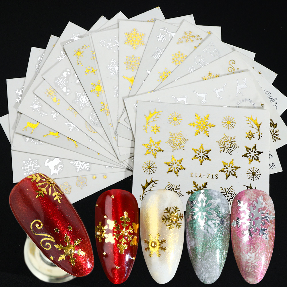16pcs/Set Gold Silver Snowflakes Nail Stickers Water Decals Christmas Nail Art Decorations 3D Charms Designs Manicure TRSTZ-YA