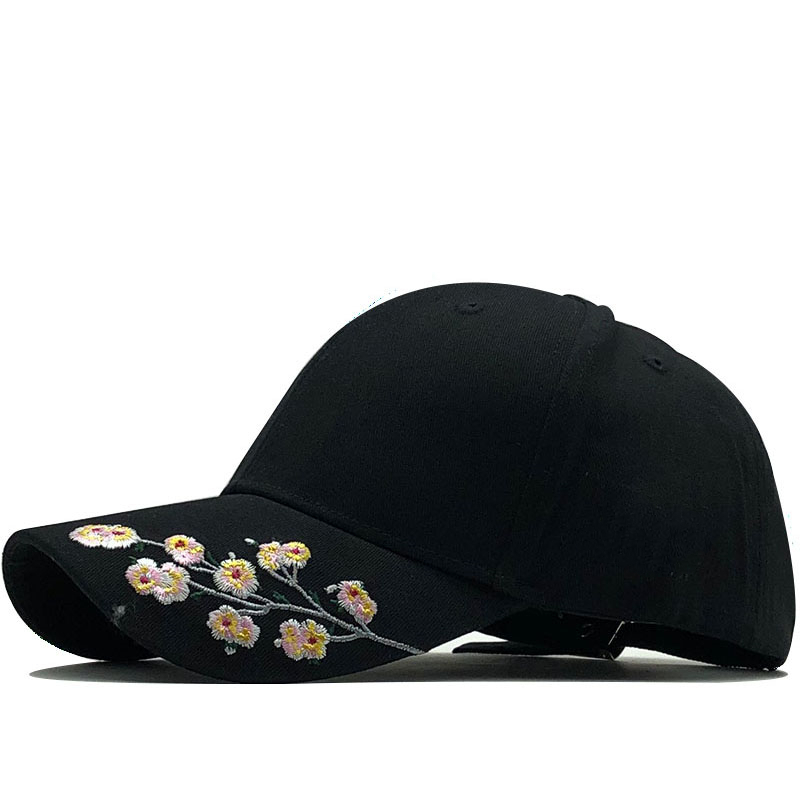 New Fashion Flowers Embroidery Baseball Caps Cotton Snapback Hats Caps For Girls Women Adjustable Couple Cap