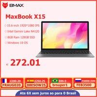BMAX X15 portátiles de 15,6 pulgadas Windows 10 1920*1080 Intel lago Géminis N4120 Quad Core 8GB RAM 128GB SSD ROM Notebook WIFI HDMI USB