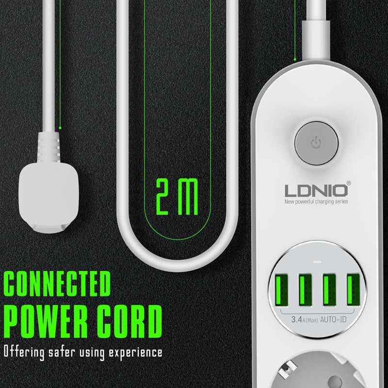 Ue wtyczka listwa zasilająca z 4 gniazda 4 porty USB szybkie ładowanie wielu elektronicznych rozszerzenie gniazdo 2M kabel przewód zabezpieczenie przeciwprzepięciowe