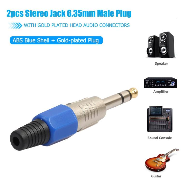 2pcs Stereo Jack 6.35mm Male Plug with Gold Plated Head Audio ...