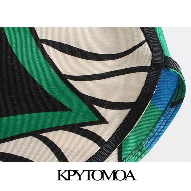 KPYTOMOA Women 2021 Fashion Side Pockets Printed Bermuda Shorts Vintage High Elastic Waist Side Vents Female Short Pants Mujer 6