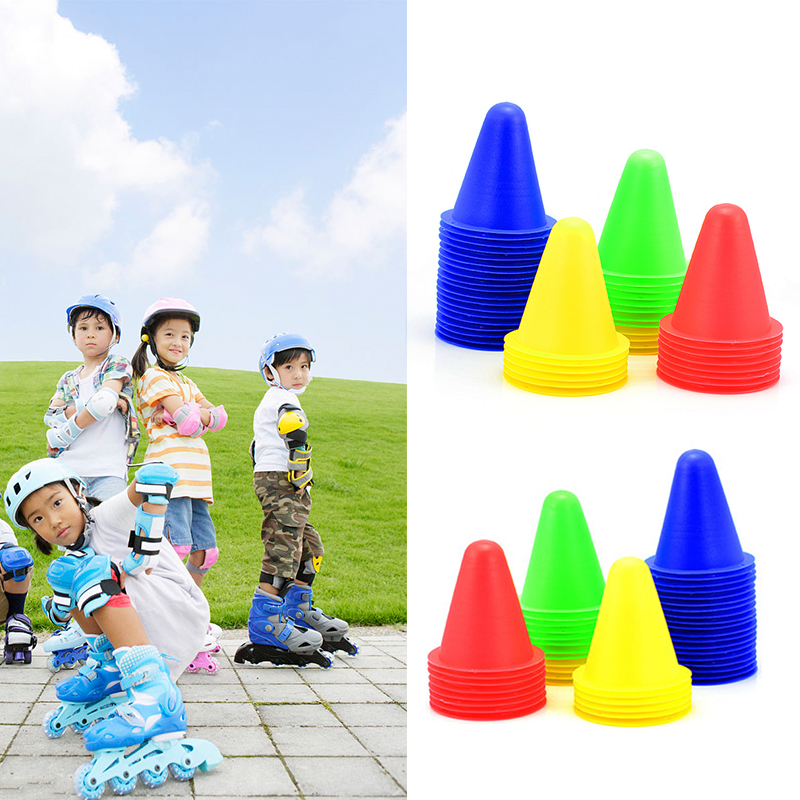 10pcs New Slalom Cones Sport Rugby Training Cone Roller For  Football Soccer Training Skateboard Barriers Plastic Marker