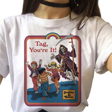 Feminino T-shirt T-shirt Horror Grim Reaper Grim Morte Demônio Baphomet Satanismo T-shirt Mal Mulheres Harajuku Gráfico T-shirt Top Tee