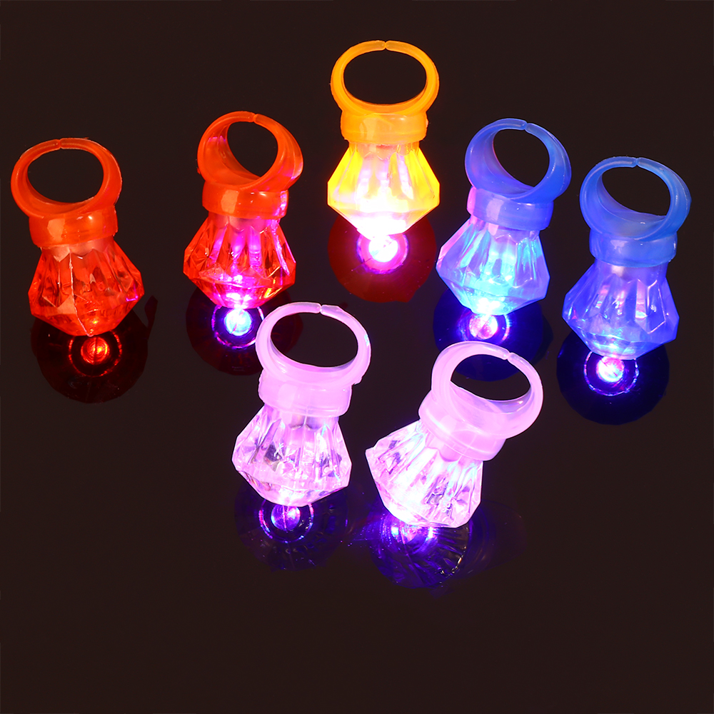 10 Pcs LED Diamond Flashing Finger Ring Children Boys Girls Rave Party Glowing Rings Party Birthday Toy Gift