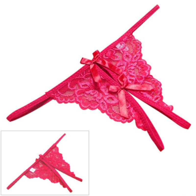 المرأة مثير الدانتيل ثونغ روبا الداخلية المفتوحة شوكة موجز سيدة Tanga القوس knils الإناث T-الظهر الكبار ألعاب