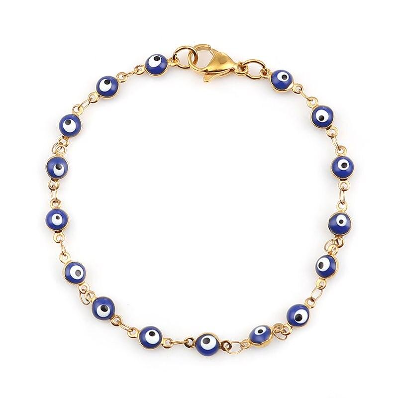 Модное кольцо из нержавеющей стали браслеты из нержавеющей стали; Золотистый цвет; Синий цвет; Красный цвет; С клипсами Дурной глаз эмаль браслет из бисера ювелирные изделия для мужчин и женщин Подарки 18,7 см в длину, 1 шт.