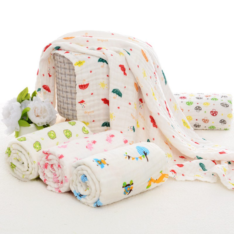 Hot Sale Baby Printing Six Layers Of Gauze Blanket Cotton Bath Towel Infant Soft Air Conditioning Towels