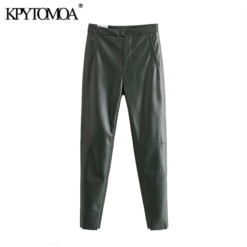 Vintage Stylish Buttoned PU Faux Leather Skinny Pants Women 2020 Fashion Side Zipper Pockets Female Ankle Trousers Pantalones