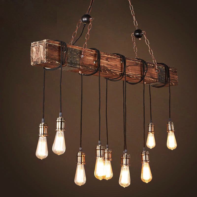 Loft Wood Industrial Vintage Pendant Light For Restaurant Bedroom Bar Living Room Retro Wooden Hanging Lamp Lighting Suspension