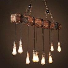 Loft holz industrie vintage anhänger licht für restaurant schlafzimmer bar wohnzimmer retro holz hängen lampe beleuchtung suspension