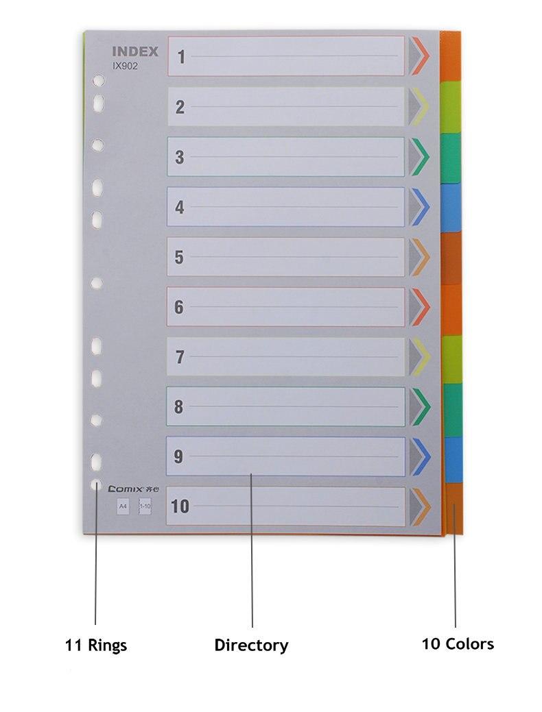 10 Colors A4 Paper Oganizer File Folder Index Card 2, 3 Ring Binder Folder Index Card