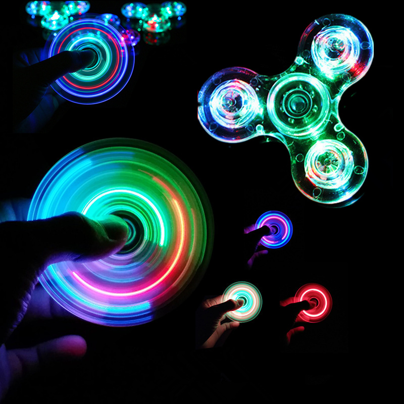 Luminous LED Light Fidget Spinner Hand Top Spinners Glow In Dark Light EDC Figet Spiner Batman Finger Stress Relief Kids Toys E