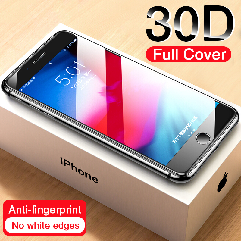 30D Curved Edge Protective Glass on the For iPhone 7 8 6 6s Plus Tempered Screen Protector For iPhone 11 Pro X XR XS Max 7 Glass title=