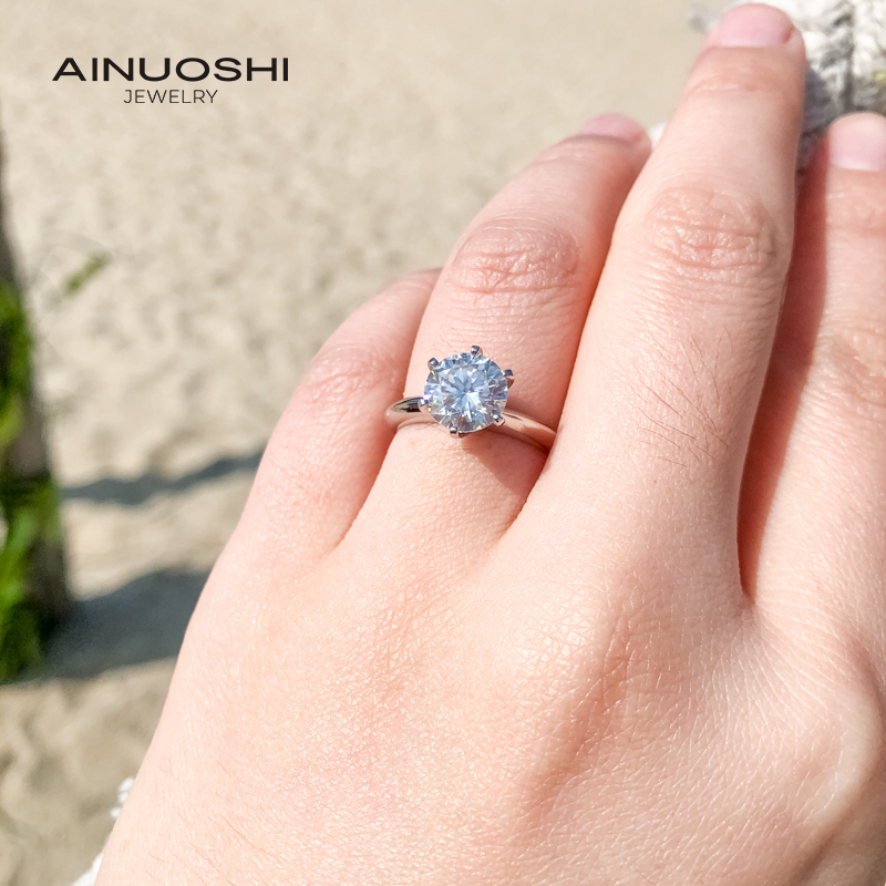 AINUOSHI 2.0ct Straight Arm Solitare Round Cut Moissanite Engagement Rings For Women 925 Silver Jewelry Gifts