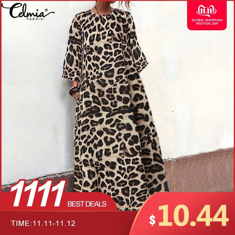 Women Summer Long  Maxi Dress Vintage Leopard Print Dress 2019 Celmia Female Casual O Neck 3/4 Sleeve Loose Party Vestidos S-5XL