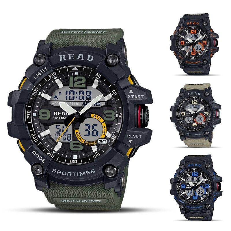 Спортивные часы для мужчин 2020, водонепроницаемые цифровые часы, Светодиодный светящийся циферблат, мужские военные часы|Цифровые часы|   | АлиЭкспресс
