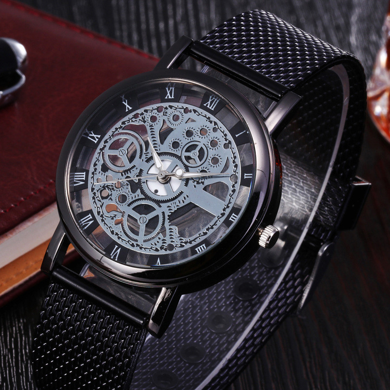 Fashion Hollow Quartz Watch Luxury Silver & Golden Steel Watches Men Women Unisex Hombre Quartz Wrist Watch Clock Retro Relogio