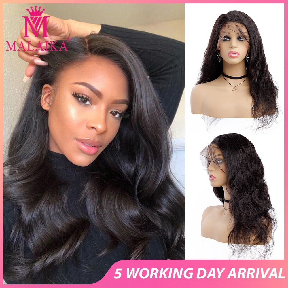 MALAIKA Full Lace Human Hair Wigs For Women Brazilian Hair Body Lace Wigs  Pre Plucked Glueless Lace Wig For Christmas
