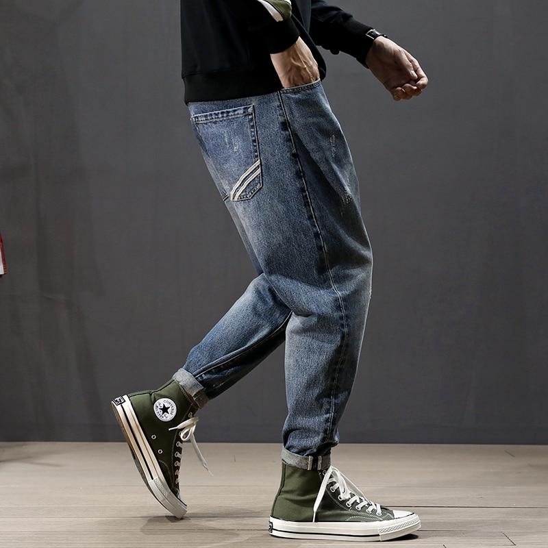 Korean Style Fashion Men Jeans Retro Blue Loose Fit Harem Pants Ripped Jeans Homme Stripe Designer Streetwear Hip Hop Jeans Men