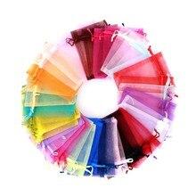 7*9 9*12Cm Organza Sheer Gauze Element Jewelry Bags Packing Drawable Organza Bags Wedding Gift Sachet Organza 50pcs