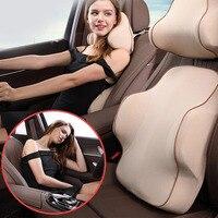 Seat Breathable Washable Cover Interior Lumbar Pillow Ergonomic Universal Cushion Car Headrest Set Memory Foam Support