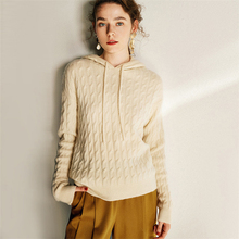 KHALEE YOSE Knit Hooded Sweater Pullover 2019 Autumn Winter Thick Warm Sweatesr Twisted Oversized Women Sweater Chic Jumper Tops ribbed hooded knit jumper