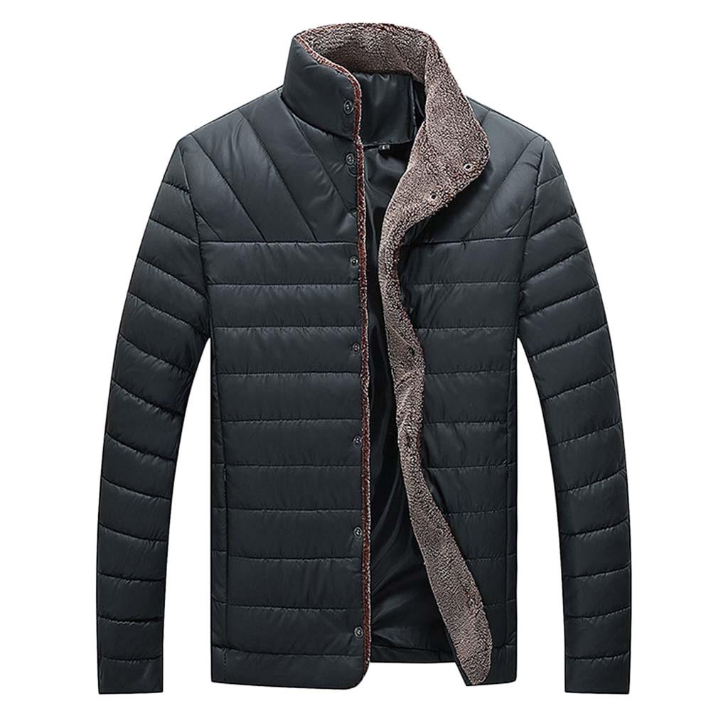 Роскошная куртка, пальто для мужчин, Повседневная зимняя однотонная теплая куртка на пуговицах, ветровка с длинным рукавом, с гладким карма