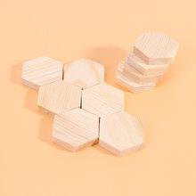 10 sztuk drewniana deska wielokątny blok drewna sześciokąt profilowany blok drewna instrukcja DIY w kształcie specjalnym drewniane deski dla rzemiosła Mak tanie tanio CN (pochodzenie) craft wood wooden craft plank wood block small wood block DIY wood block