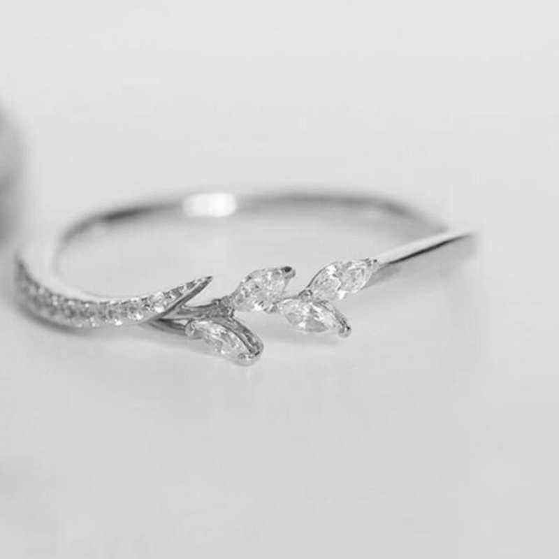 Neue Blatt Kristall Engagement Ringe frauen Hochzeit Band Ring Für Weibliche Rose Gold Silber Ringe Schmuck Größe 5 6 7 8 8 10