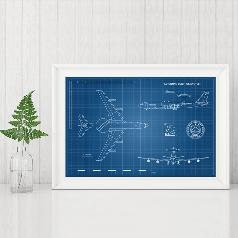 Blueprint of Aircraft Prints Home Decor
