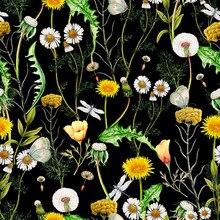 Poliéster cetim vestido de tecido flor floral padrão colorido borboleta personalizado libélula impresso pano fino retalhos