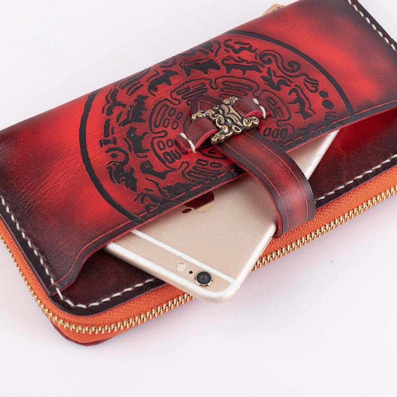 Women Genuine Leather Wallet Fierce Tiger Zipper Purse Girl Phone Clutch