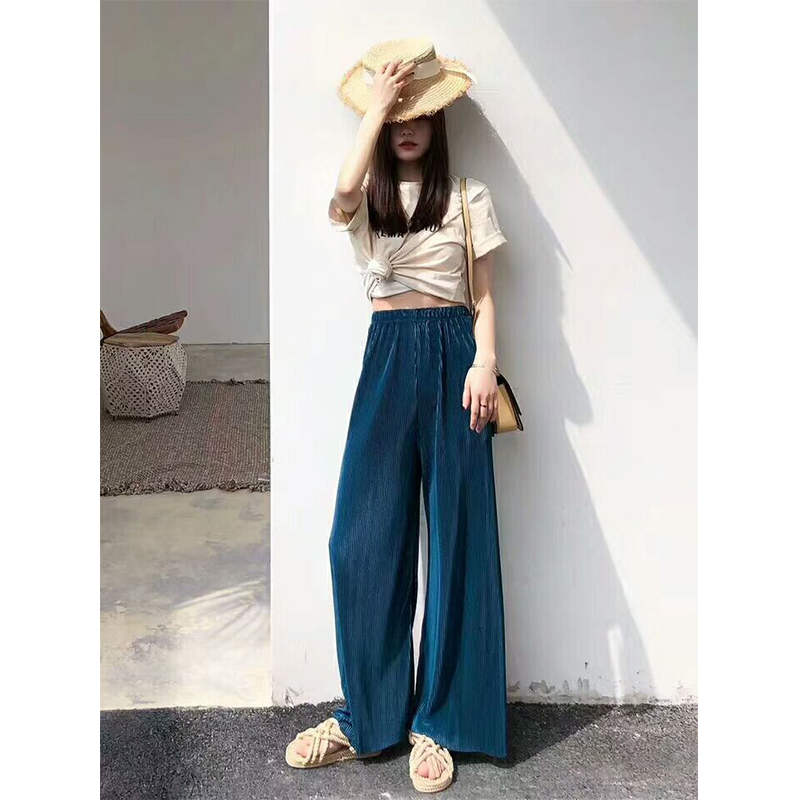 2019   Pants   Women Knitting Dangling Summer And Autumn Solid Color High Waist Pleated Jogger Trousers Women Casual   Wide     Leg     Pants