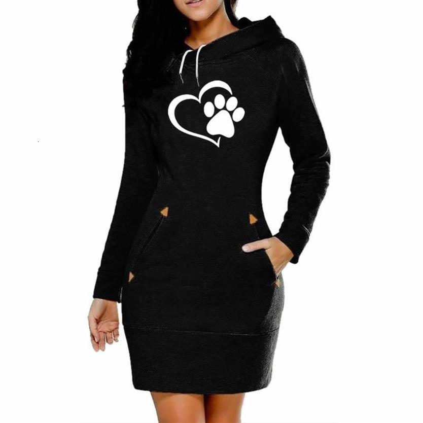 Drop Shipping Dress Dog Paw Letters Print Hoodies For Women Hoodies Women Tops Harajuku Thick Clothings Female Sweatshirts