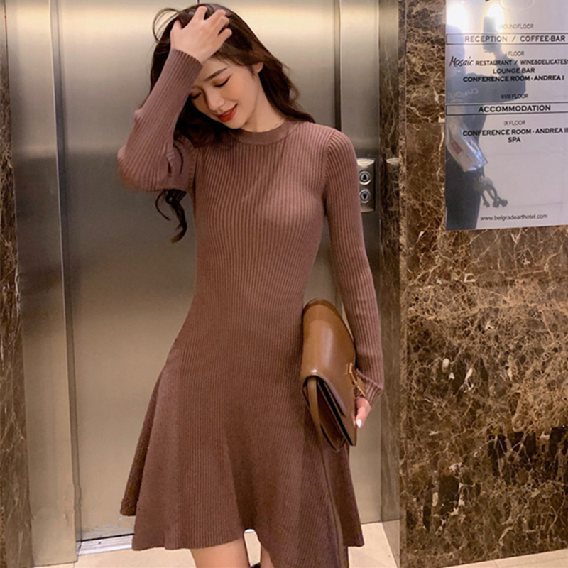 Women Long Sleeve Sweater Dress Sexy Casual Autumn Winter Dress Women O-neck A Line Short Mini Knitted Dresses