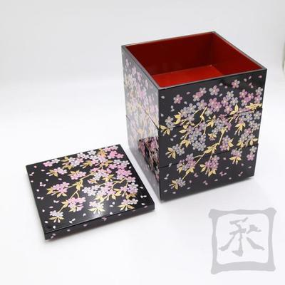 Three Layers Japanese Sakura Cherry Bronzing Sushi Lunch Box New Year Picnic Snack Meal Box Fast Food Business Packages Bento