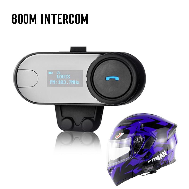 2x Motorrad BT bluetooth Sprech Headset LCD screen FM Radio 800M Walkie talkie T-COM 3 fahrer reden bluetooth headsets