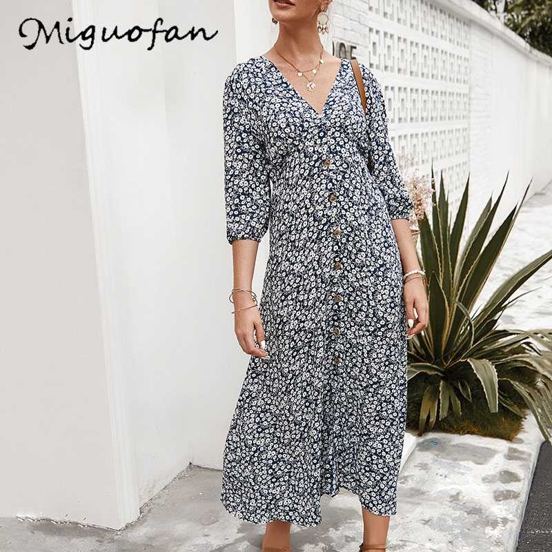 Miguofan 花 printting 女性ドレスロングドレスボタンヴィンテージセクシーな v ネックエレガントなドレス女性 vestido 2020 春
