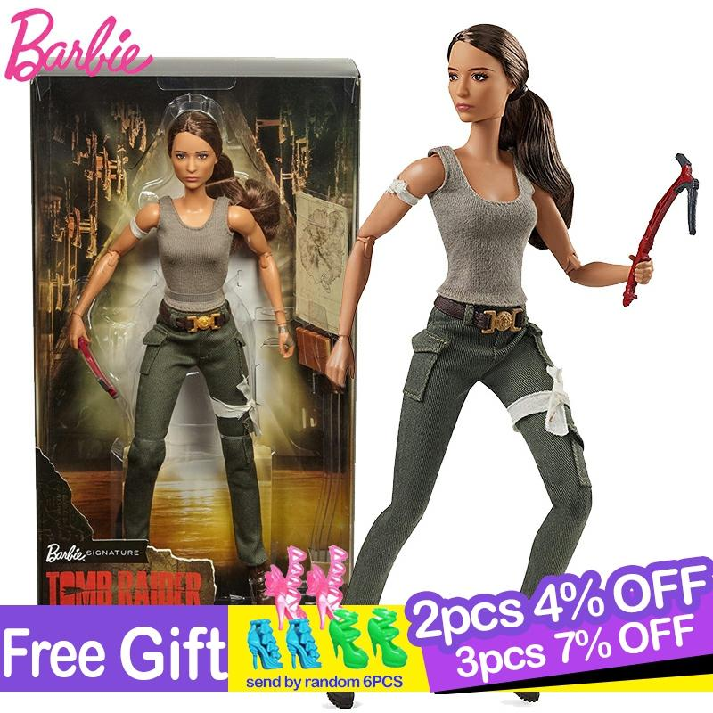 Original Barbie Super Star Tomb Raider Lara Collection Series Doll Fashion Style Birthday Gift Dolls Bonecas Kids Toys For Girl