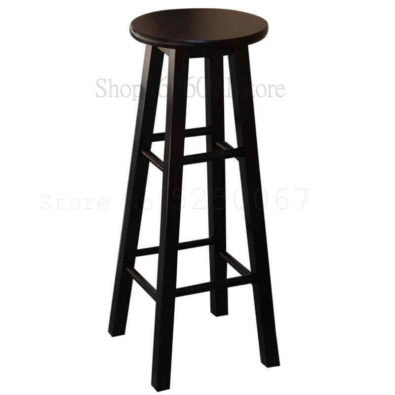 Hitam dan Putih Kayu Solid High Stool Restoran Susu Teh Gitar High Stool Fashion Kursi Bar Kayu Retro high Stool