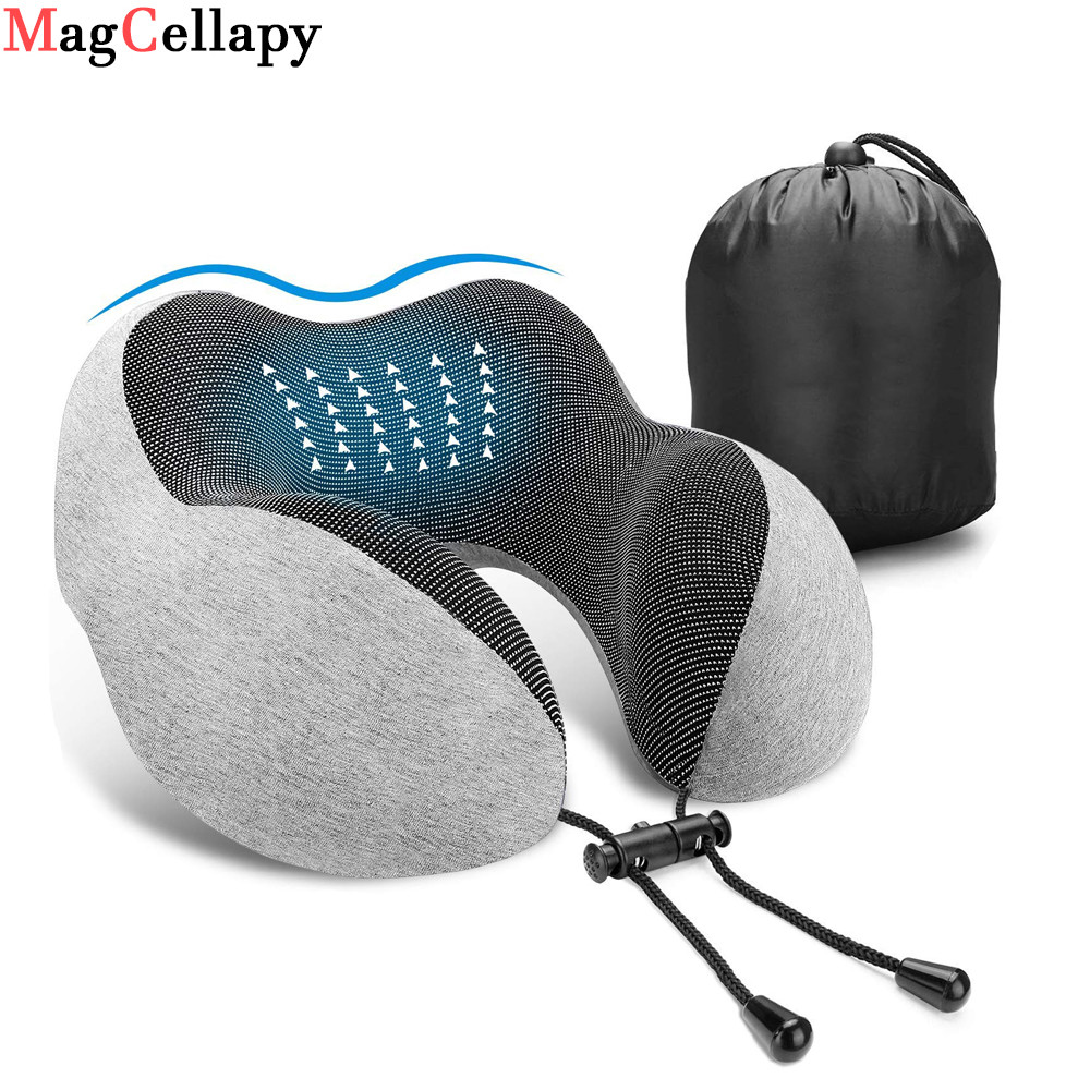 U-Shape Massage Pillow Travel Airplane Memory Foam Cervical Neck Pillows Car Head Neck Rest Air Cushion for Sleep Health Care image