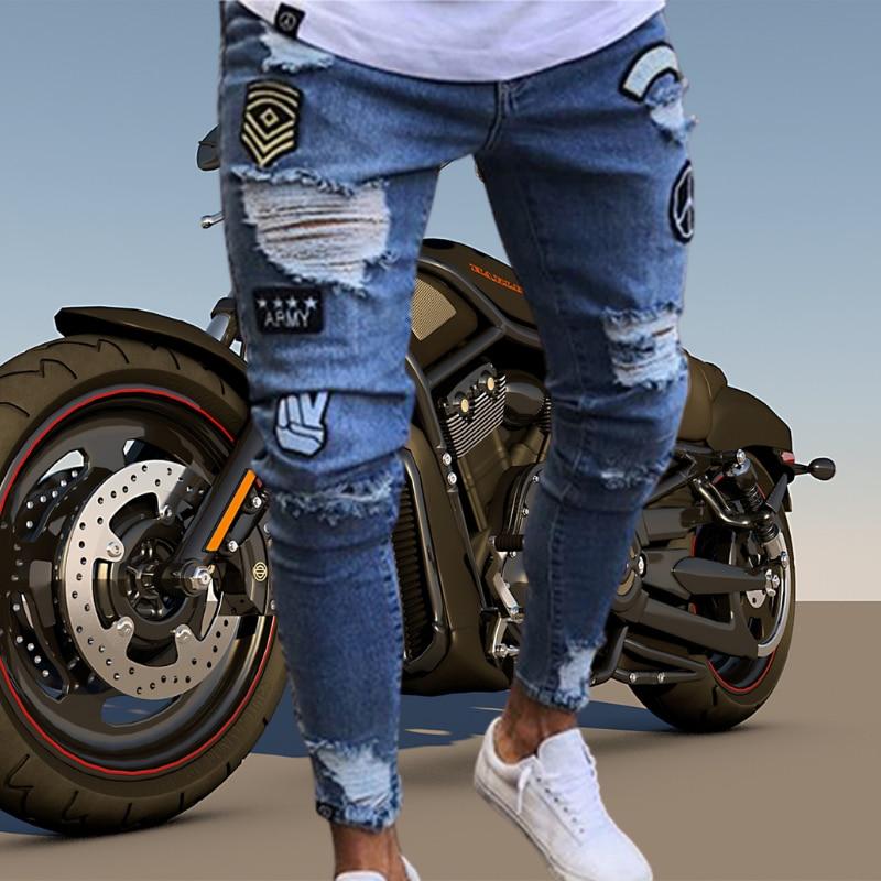Мужские рваные джинсы скинни локомотивная вышивка значки джинсы прямые тонкие джинсовые брюки высокого качества джинсовые мужские брюки